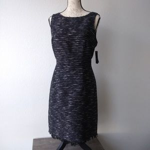 Alyx Dress 14 Sheath Fringe Hem Black White